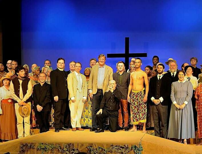 Colour photograph showing the members of the cast and creative team of a new opera titled 'The Life to Come' by Louis Mander and Stephen Fry (Courtesy of Surrey Opera)
