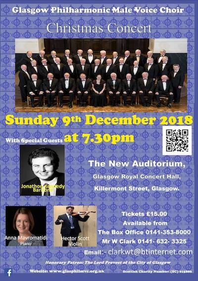 Leaflet advertising the 2018 Christmas concert by Glasgow Philharmonic Male Voice Choir featuring Jonathan Forbes Kennedy as a guest soloist (Courtesy of Glasgow Philharmonic Male Voice Choir)